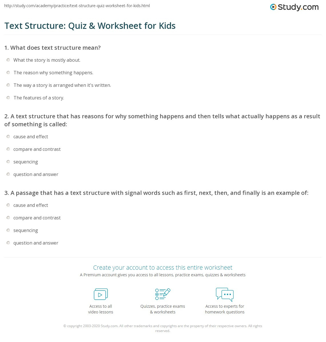 Text Structure Worksheets Grade 4 Text Structure Quiz & Worksheet for Kids