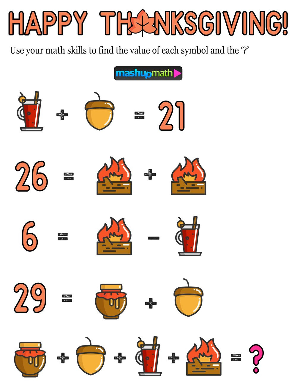Thanksgiving Math Sheets 12 Thanksgiving Math Activities for Grades 1 8 — Mashup Math