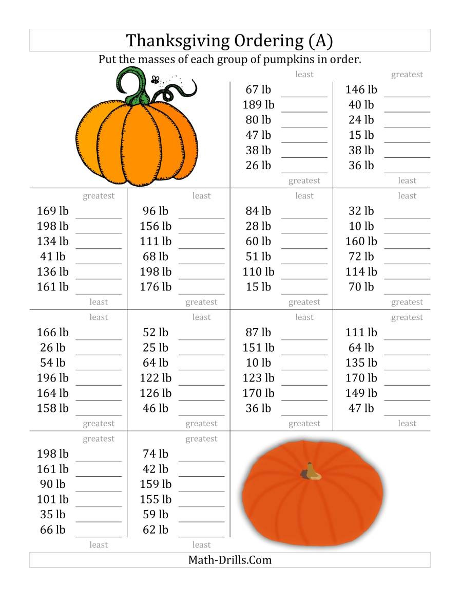 Thanksgiving Math Sheets ordering Pumpkin Masses In Pounds All Thanksgiving Math