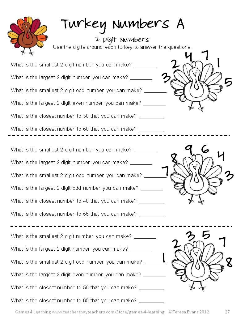 Thanksgiving Math Worksheets Middle School Thanksgiving Math Worksheets Games Puzzles Brain Teasers