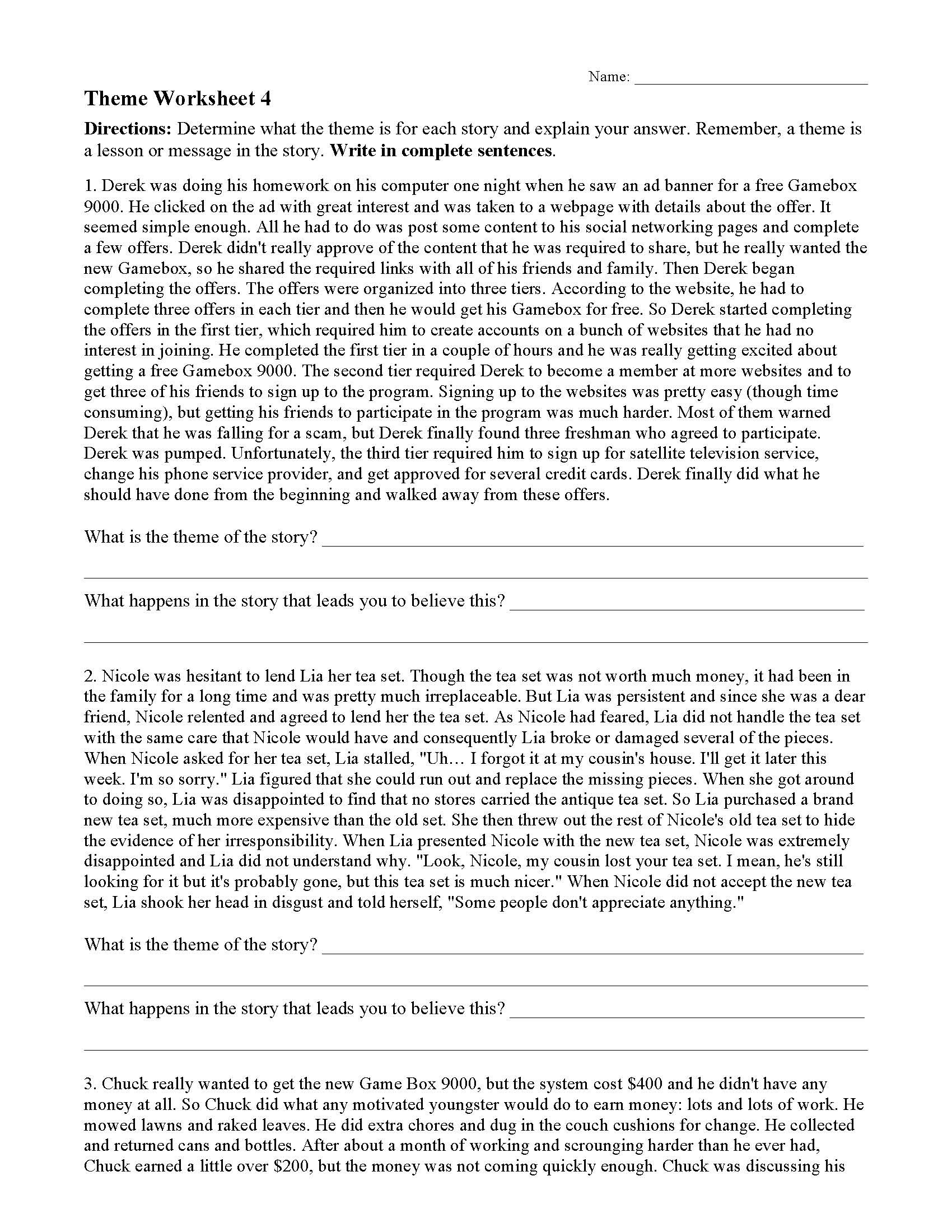 Theme Worksheet Grade 4 theme or Author S Message Worksheets