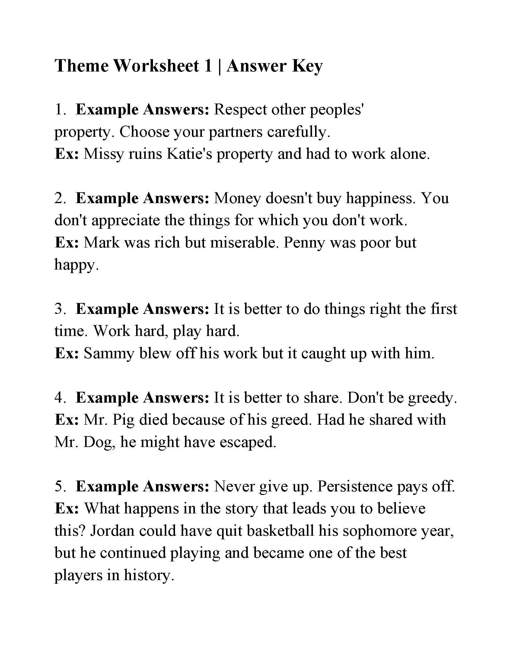 Theme Worksheets for 5th Grade This is the Answer Key for the theme Worksheet 1