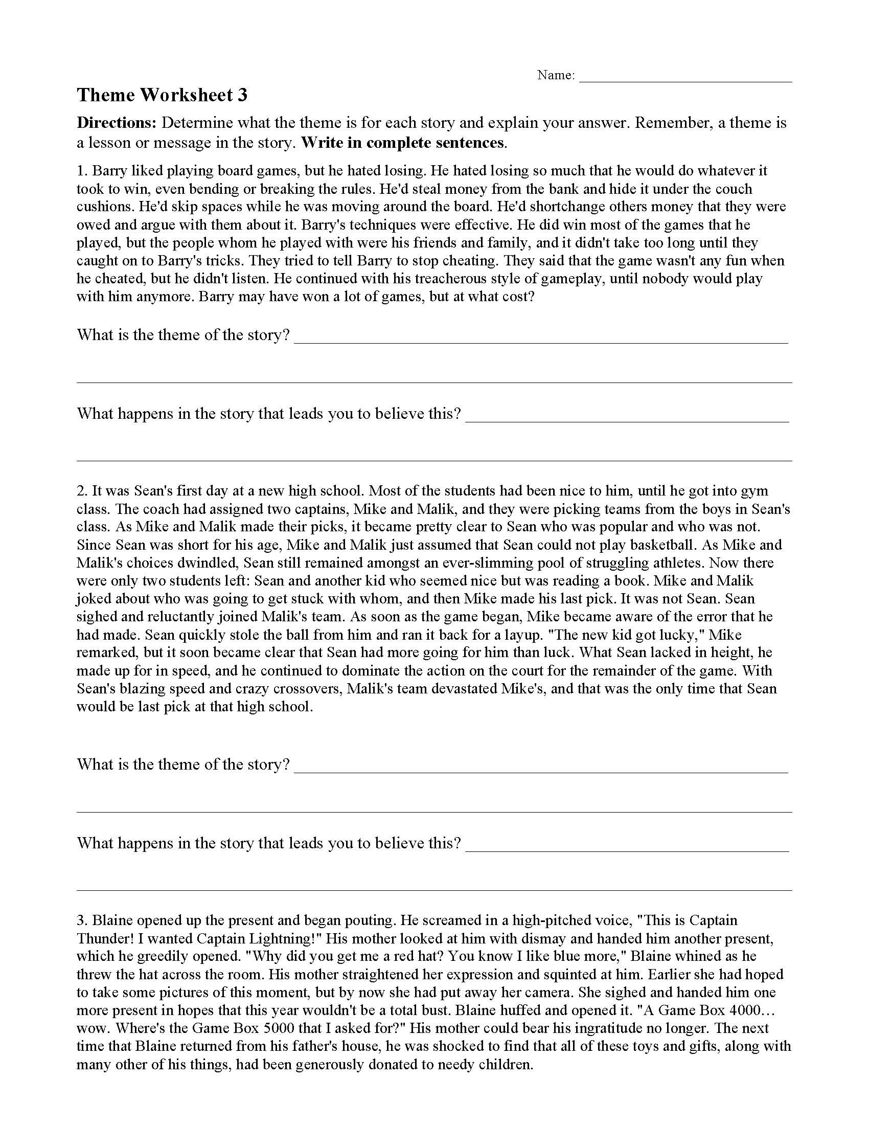 Theme Worksheets Grade 5 theme or Author S Message Worksheets