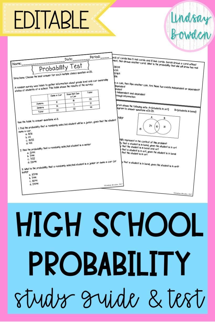Theoretical Probability Worksheets 7th Grade Probability Test with Study Guide