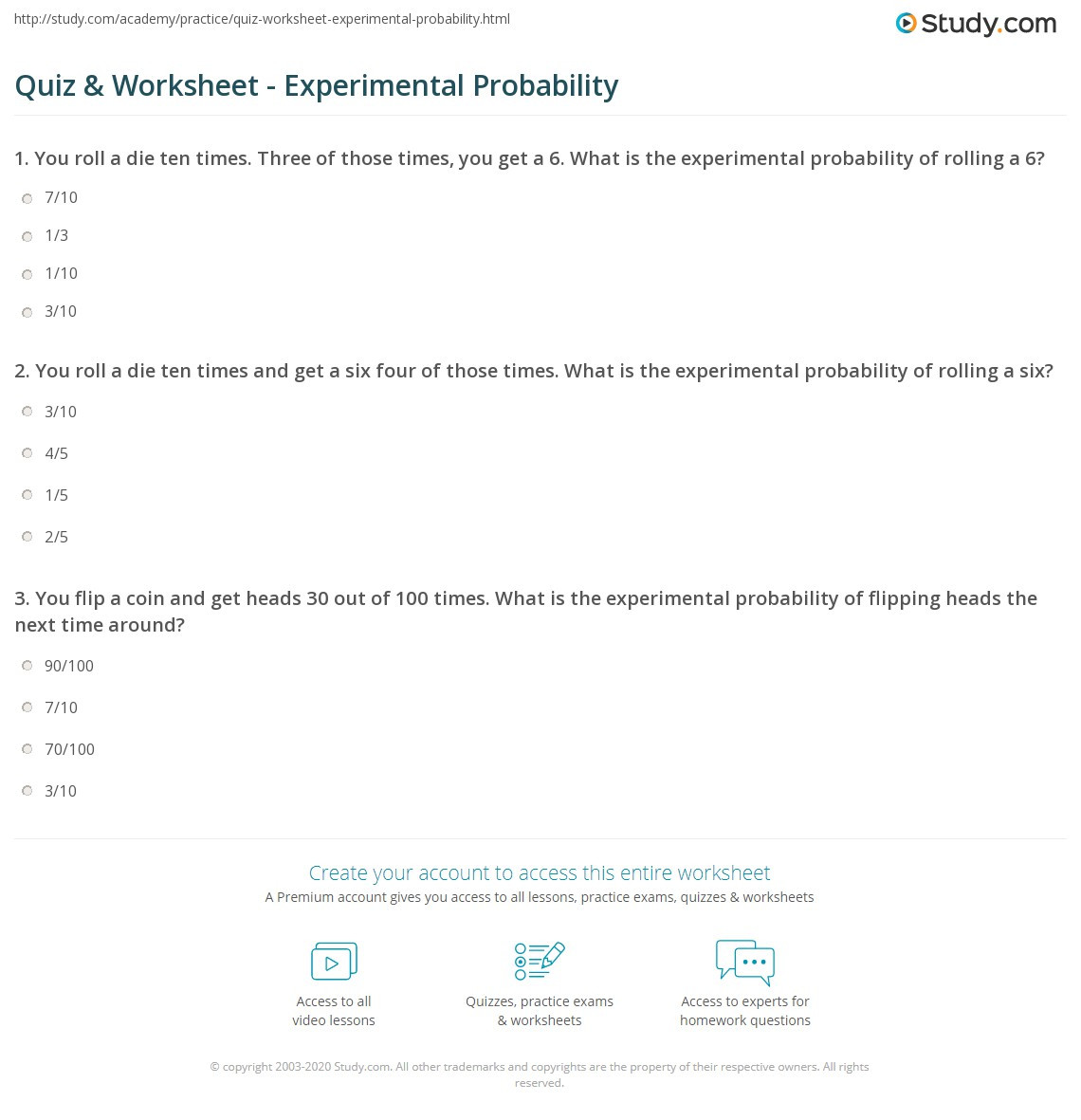 Theoretical Probability Worksheets 7th Grade Quiz & Worksheet Experimental Probability