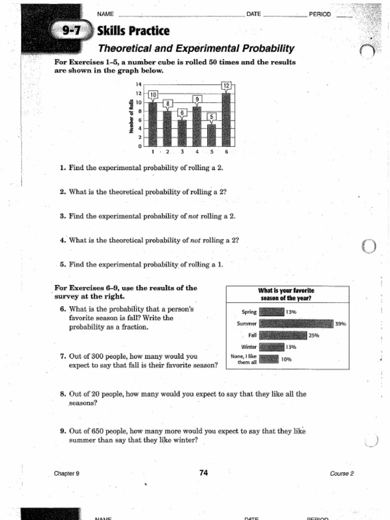 Theoretical Probability Worksheets 7th Grade theoretical and Experimental Probability Worksheet