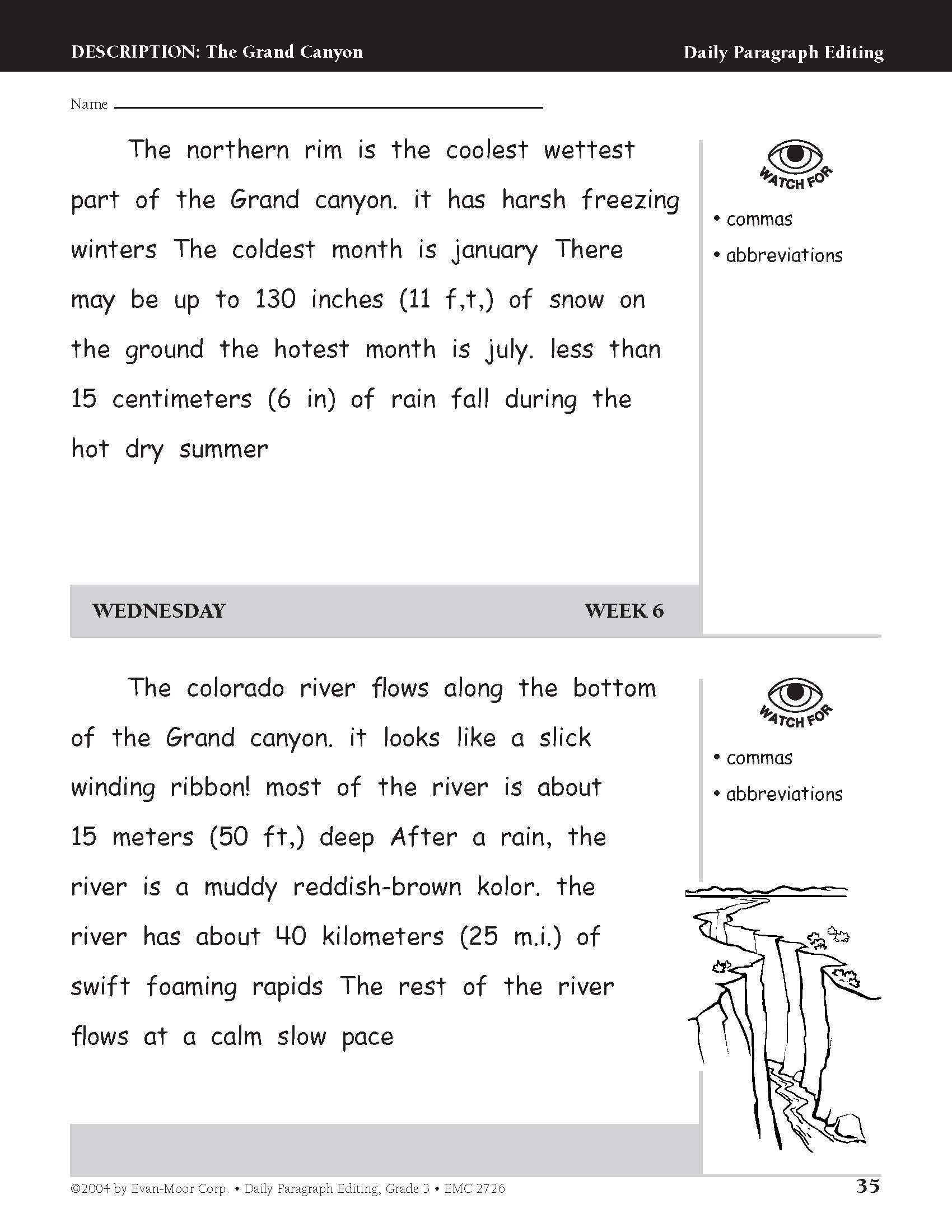 Third Grade Editing Worksheets Amazon Daily Paragraph Editing Grade 3