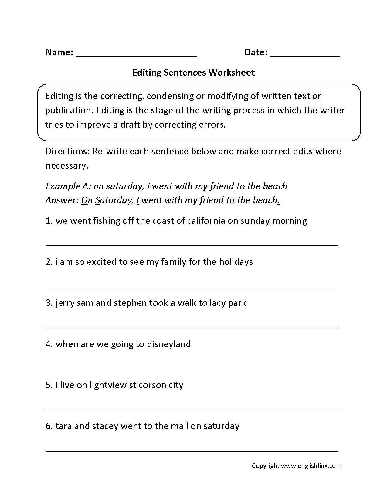 Third Grade Editing Worksheets Editing Worksheet Sentece