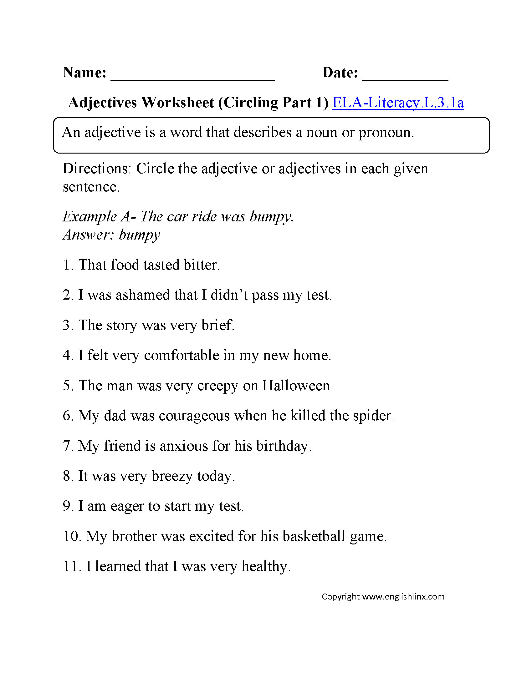 Third Grade Grammar Worksheets 3 Free Grammar Worksheets Third Grade 3 Adjectives Pare