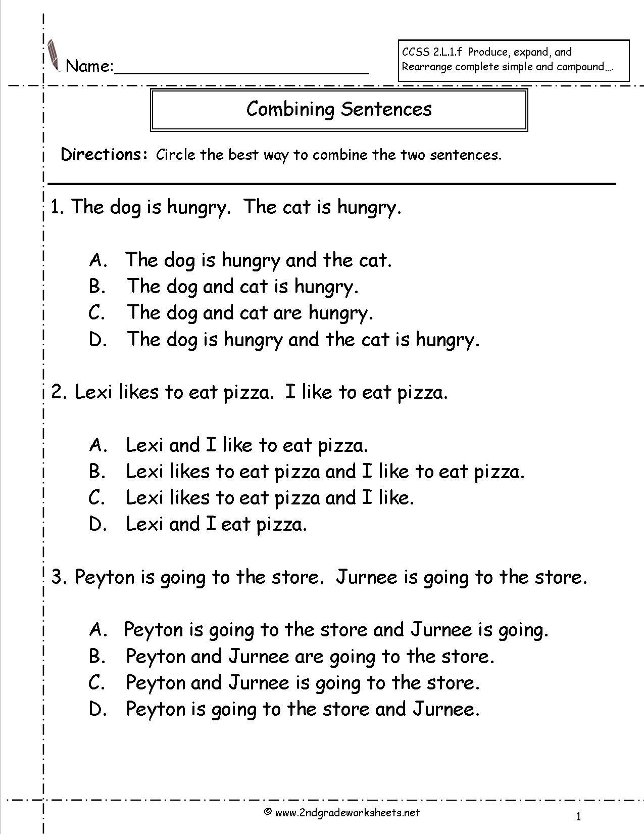Topic Sentence Worksheet 2nd Grade Bining Sentences Worksheet