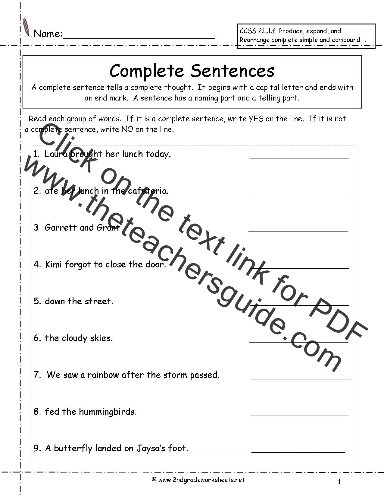 Topic Sentence Worksheet 2nd Grade Second Grade Sentences Worksheets Ccss 2 L 1 F Worksheets