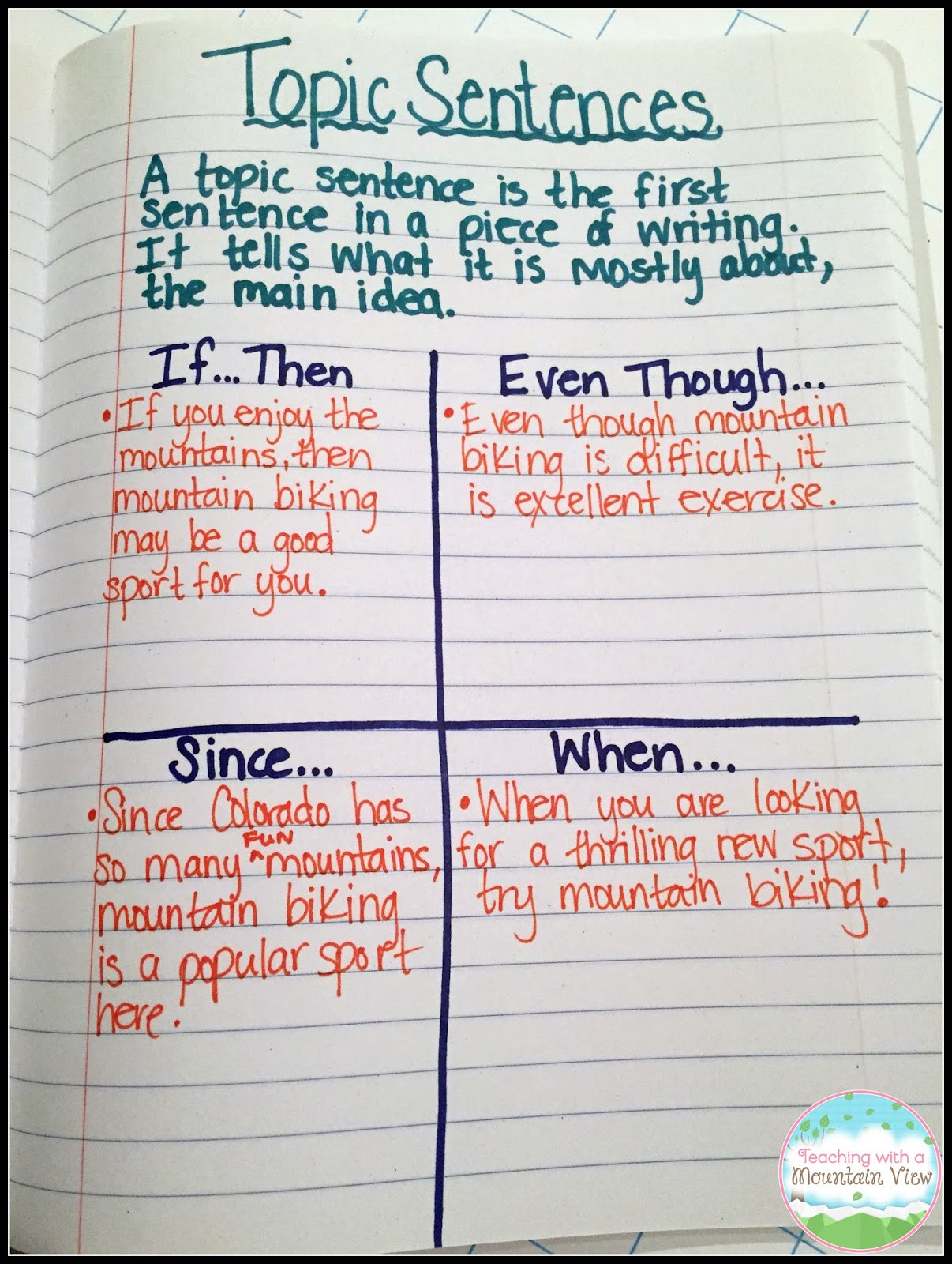Topic Sentences Worksheets Grade 4 Teaching with A Mountain View topic Sentences