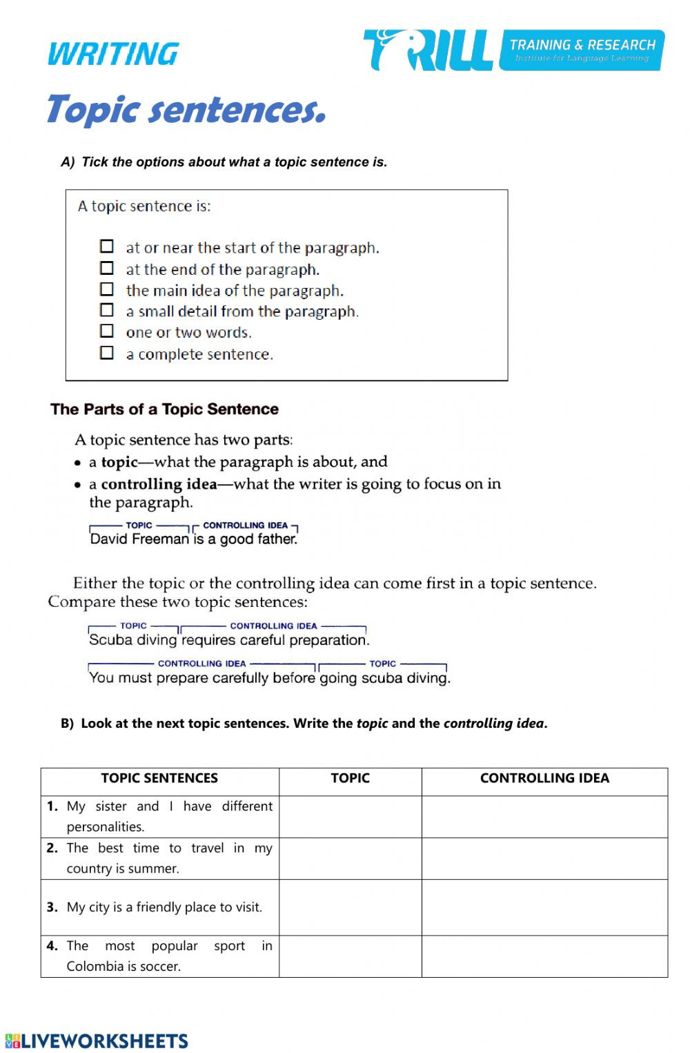 Topic sentences Interactive worksheet