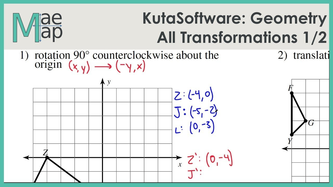 Transformations Math Worksheets Kutasoftware Geometry All Transformations Part 1