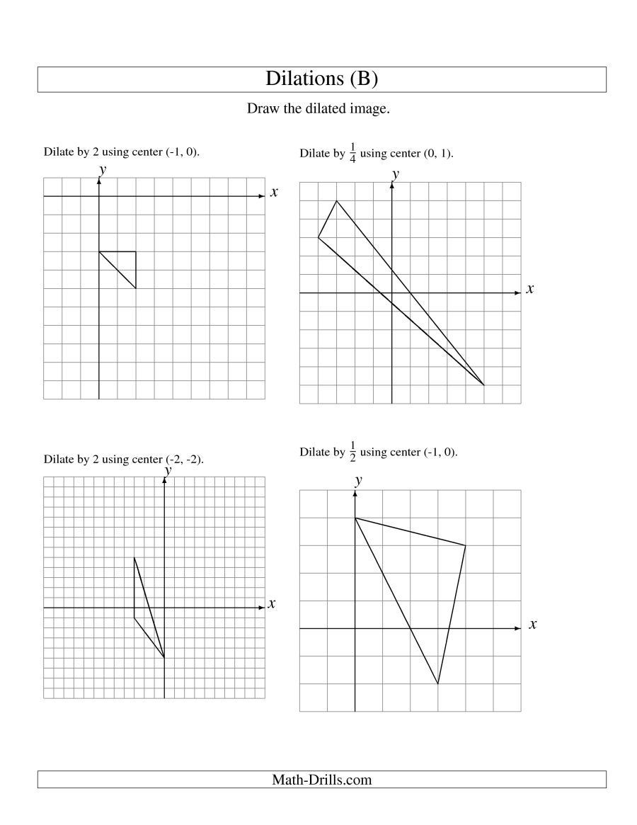 Transformations Math Worksheets the Dilations Using Various Centers Math Worksheet 8th Grade