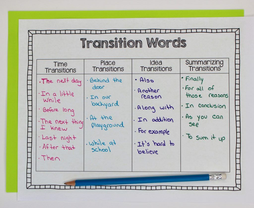 Transition Words Worksheets 4th Grade Narrative Writing