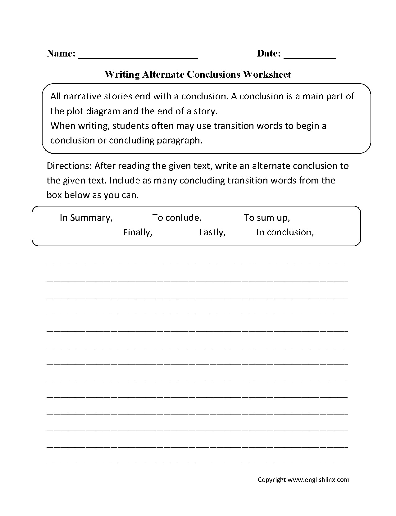 Transition Words Worksheets 4th Grade Writing Transitions Worksheet