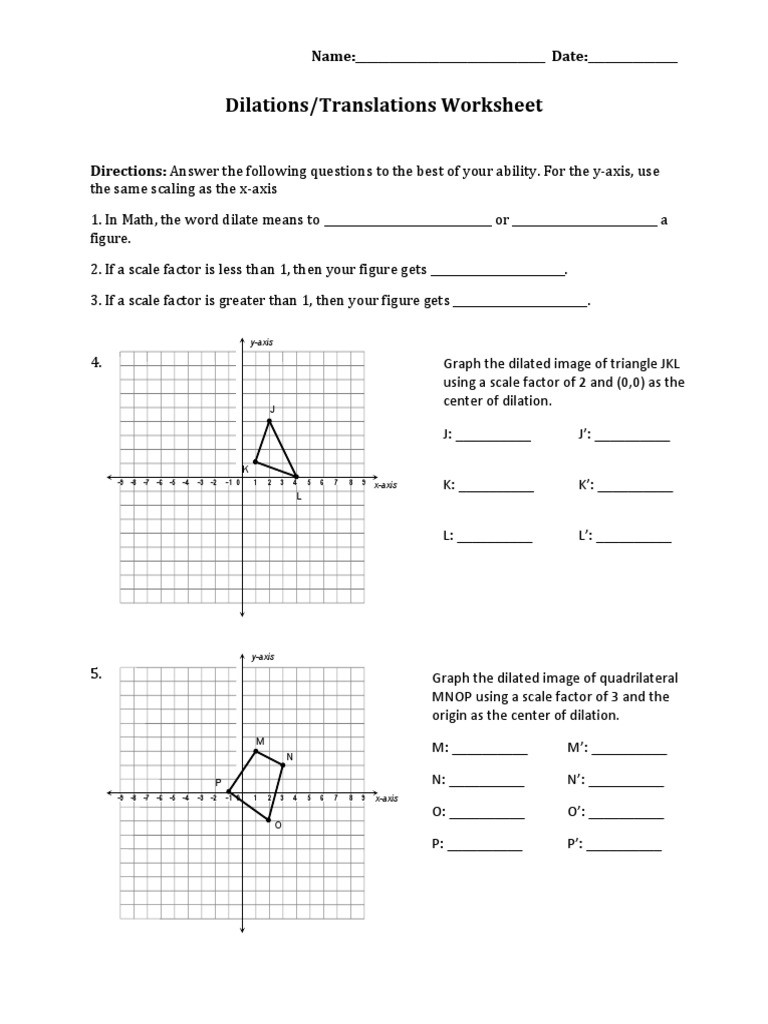 Translation Math Worksheet Pdf Dilations Translations Pdf