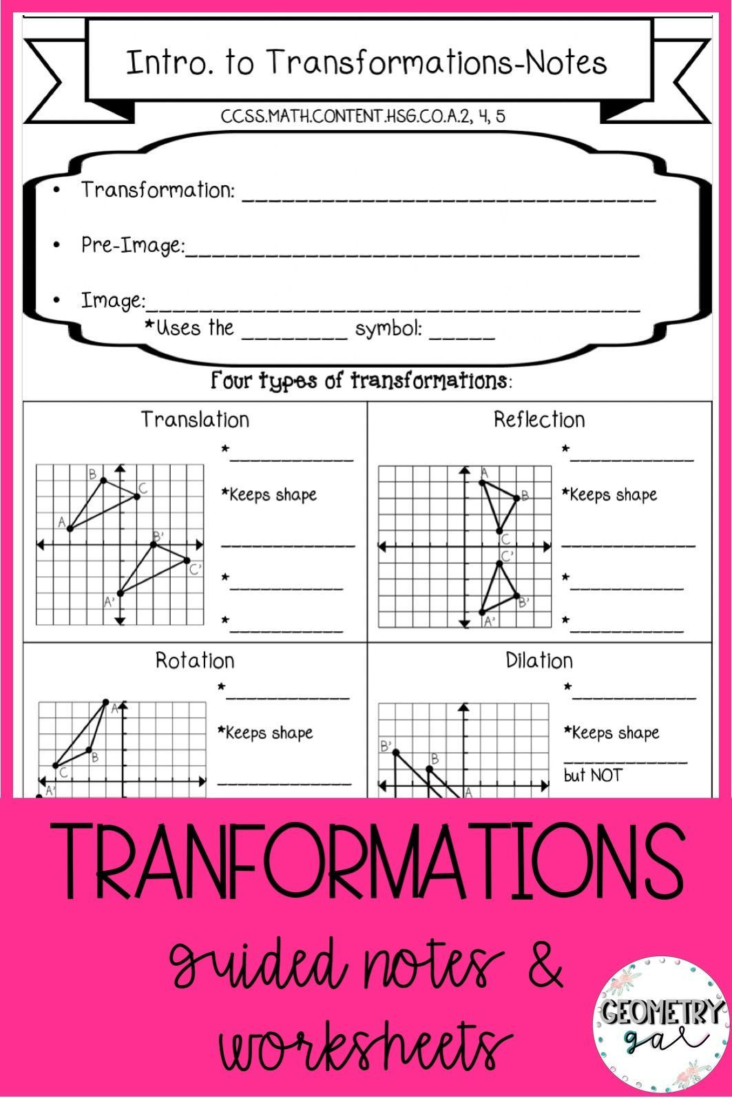 Translation Math Worksheet Pdf Geometry Transformations Guided Notes and Worksheets topics