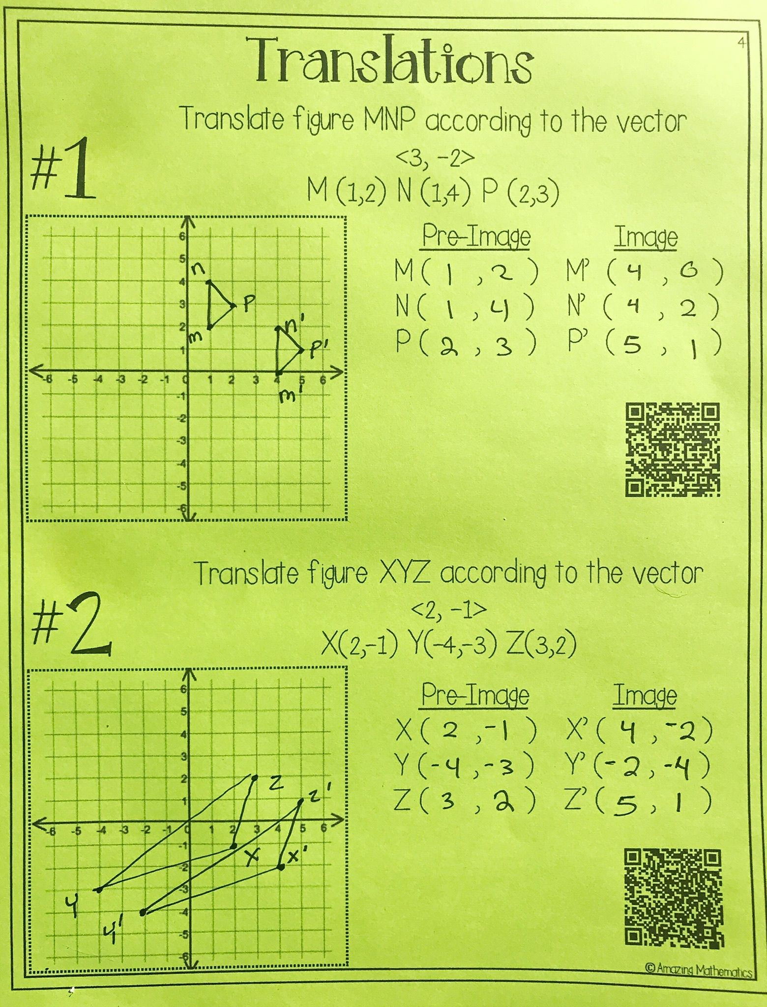 Translation Math Worksheet Pdf Hs Geometry Transformations Workbook Translations
