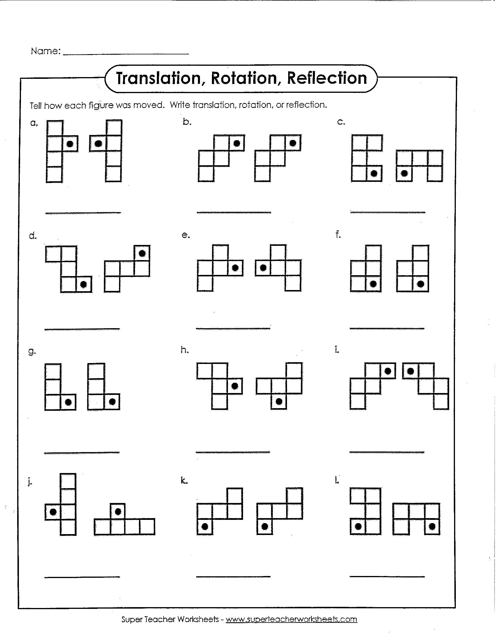 Translation Worksheets Math Translation Rotation or Reflection – Math