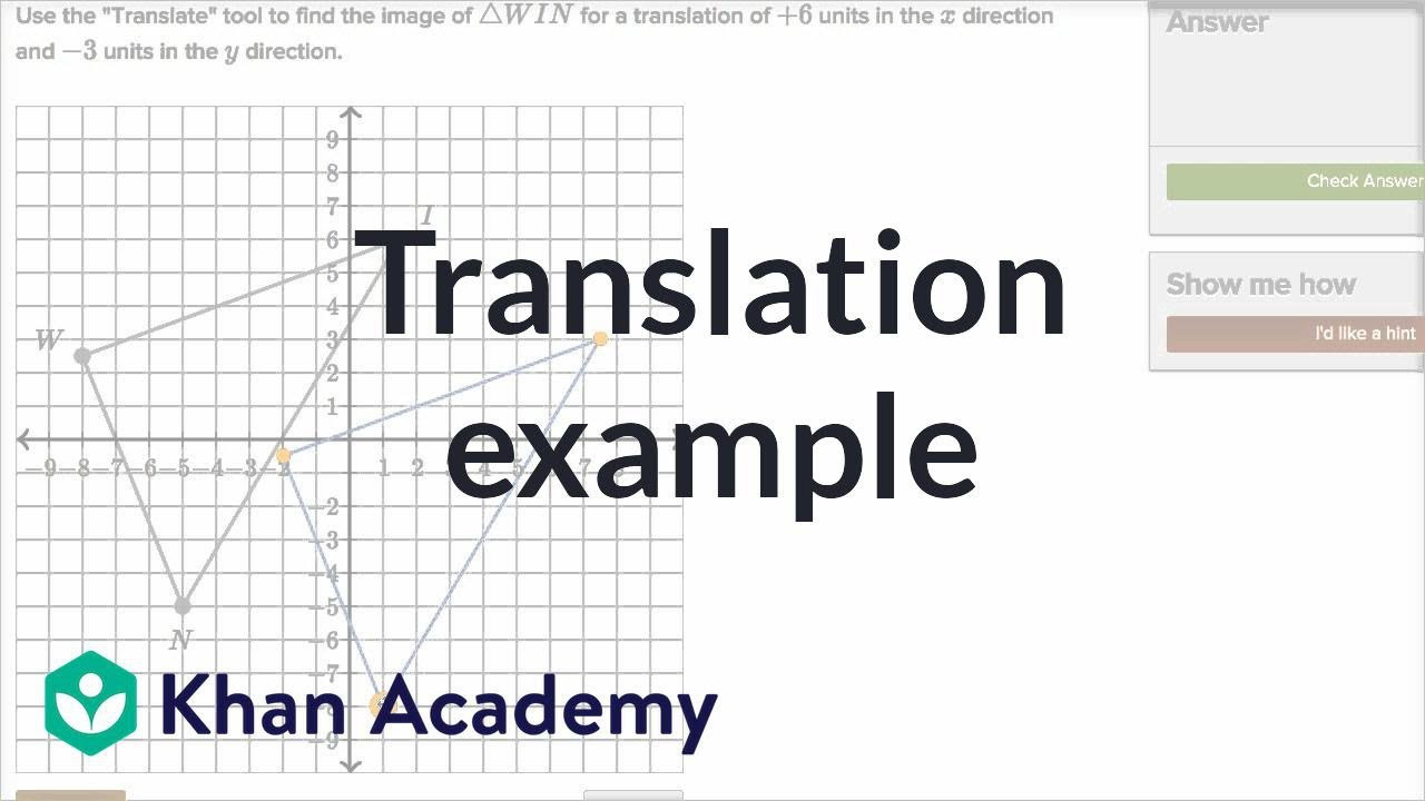 Translations Math Worksheets Performing Translations Video