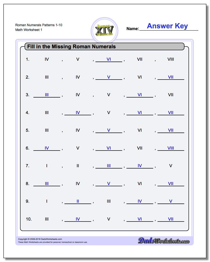 Translations Math Worksheets Roman Numerals