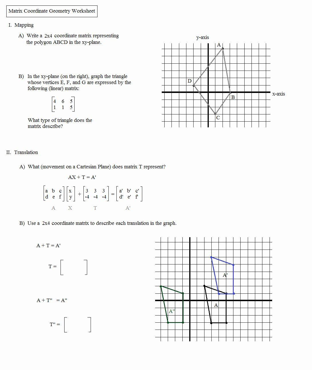 Translations Worksheets Math Dilations Translations Worksheet Answers Luxury Math Plane