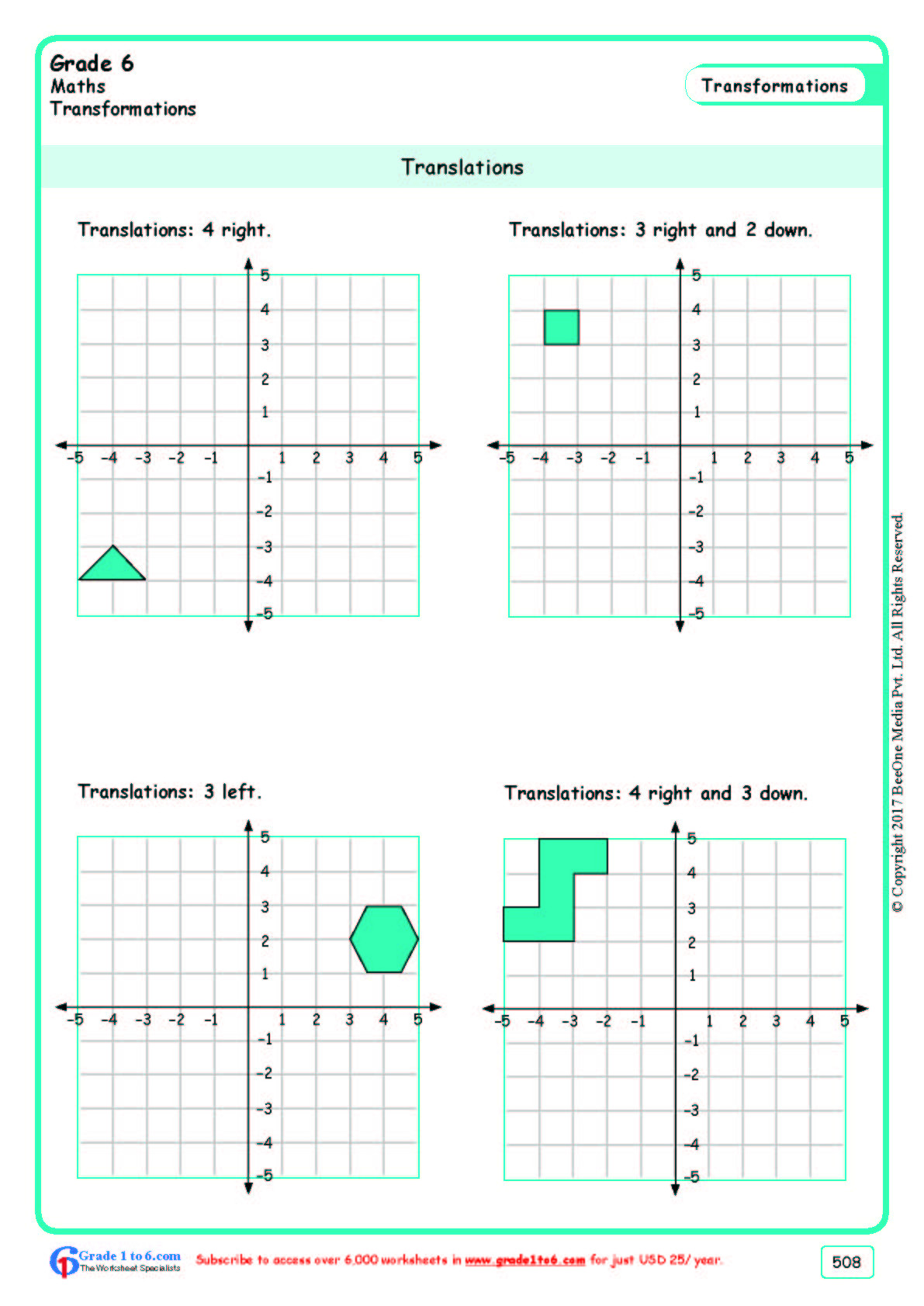 Translations Worksheets Math Grade 6 Class Six Translations Worksheets