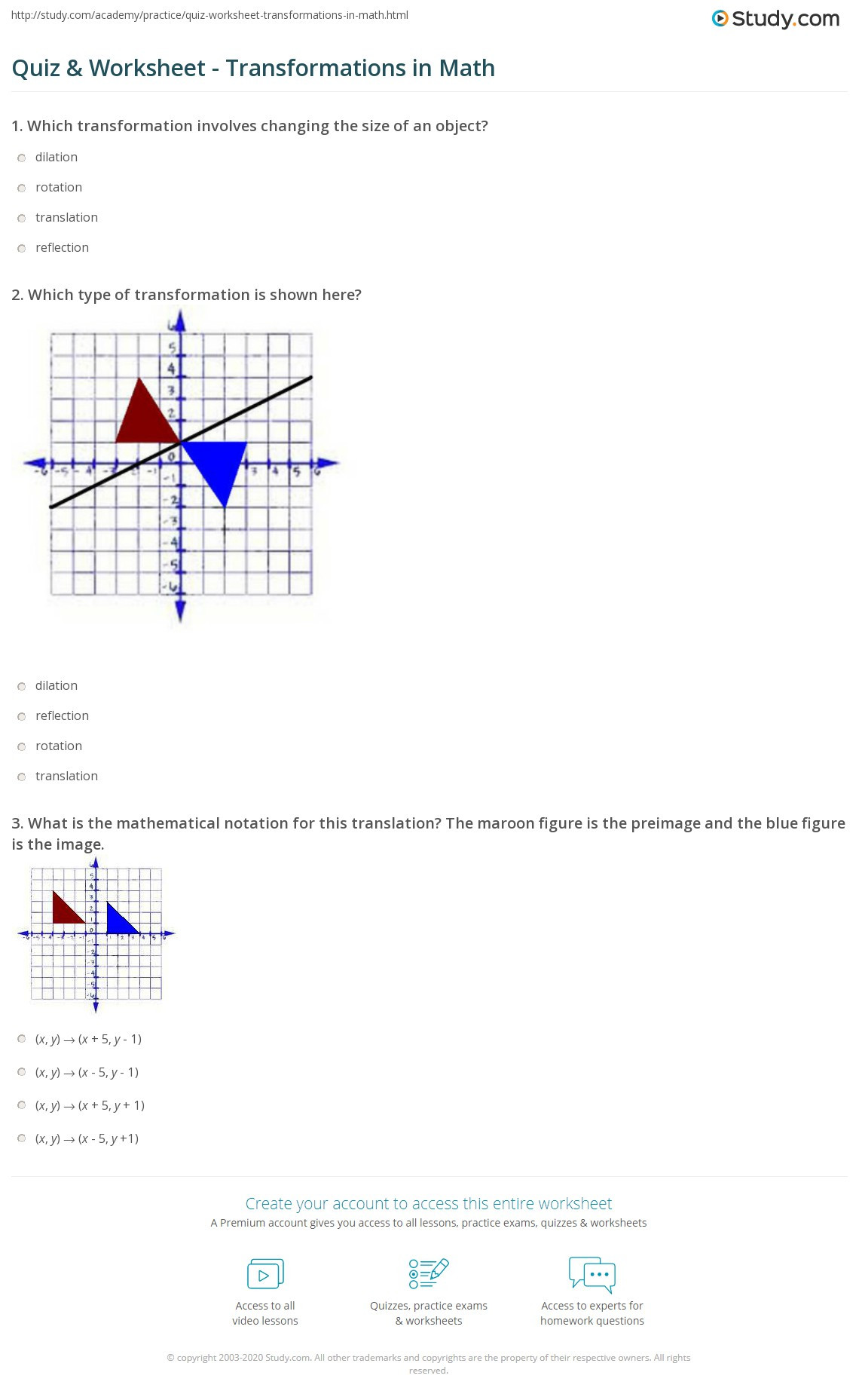 Translations Worksheets Math Quiz & Worksheet Transformations In Math