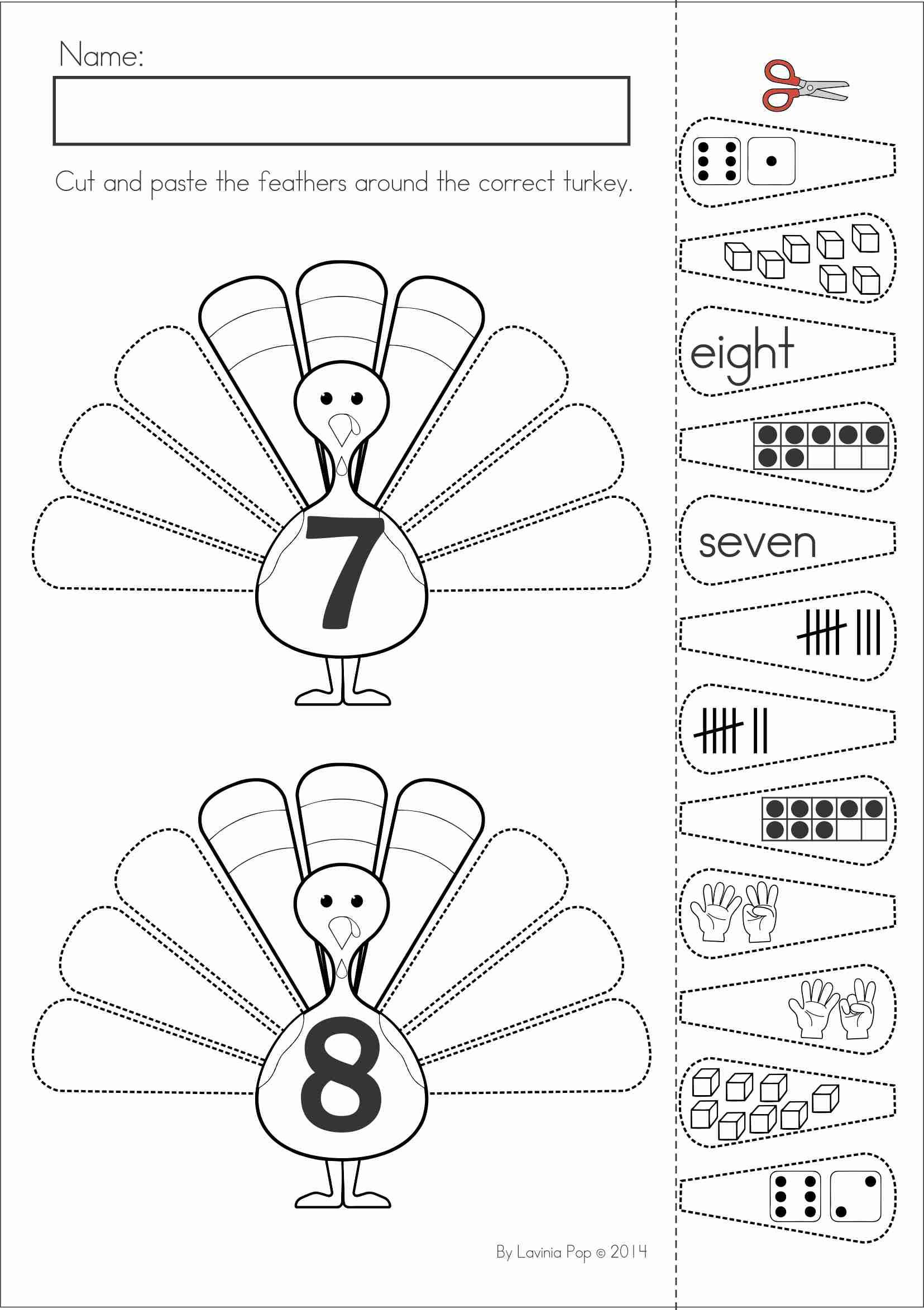 Turkey Math Worksheet Kindergarten Thanksgiving Math & Literacy Worksheets and