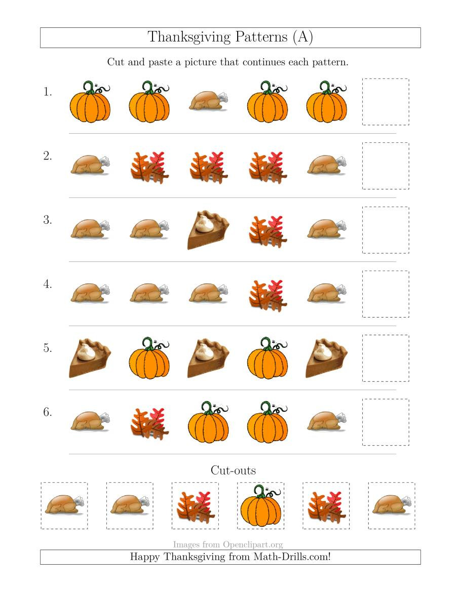 Turkey Math Worksheet Thanksgiving Picture Patterns with Shape attribute Ly A