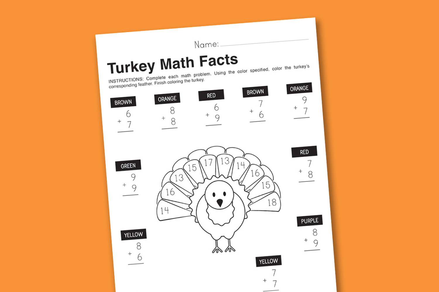 Turkey Math Worksheet Worksheet Wednesday Turkey Math Facts Paging Supermom