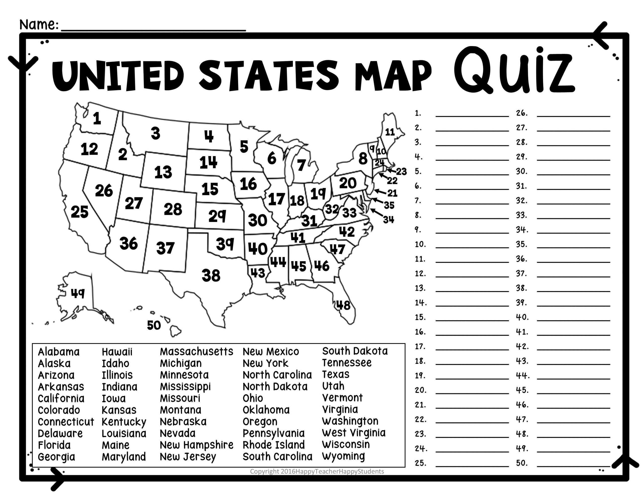 United States Capitals Quiz Printable Blank Us Map with State Names Us Map Capitals Quiz Us Map