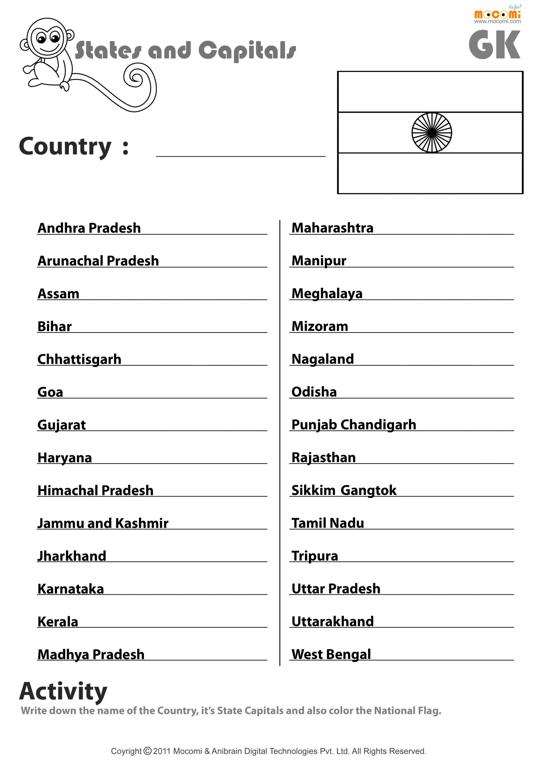 United States Capitals Quiz Printable Indian States and their Capitals English Worksheets for