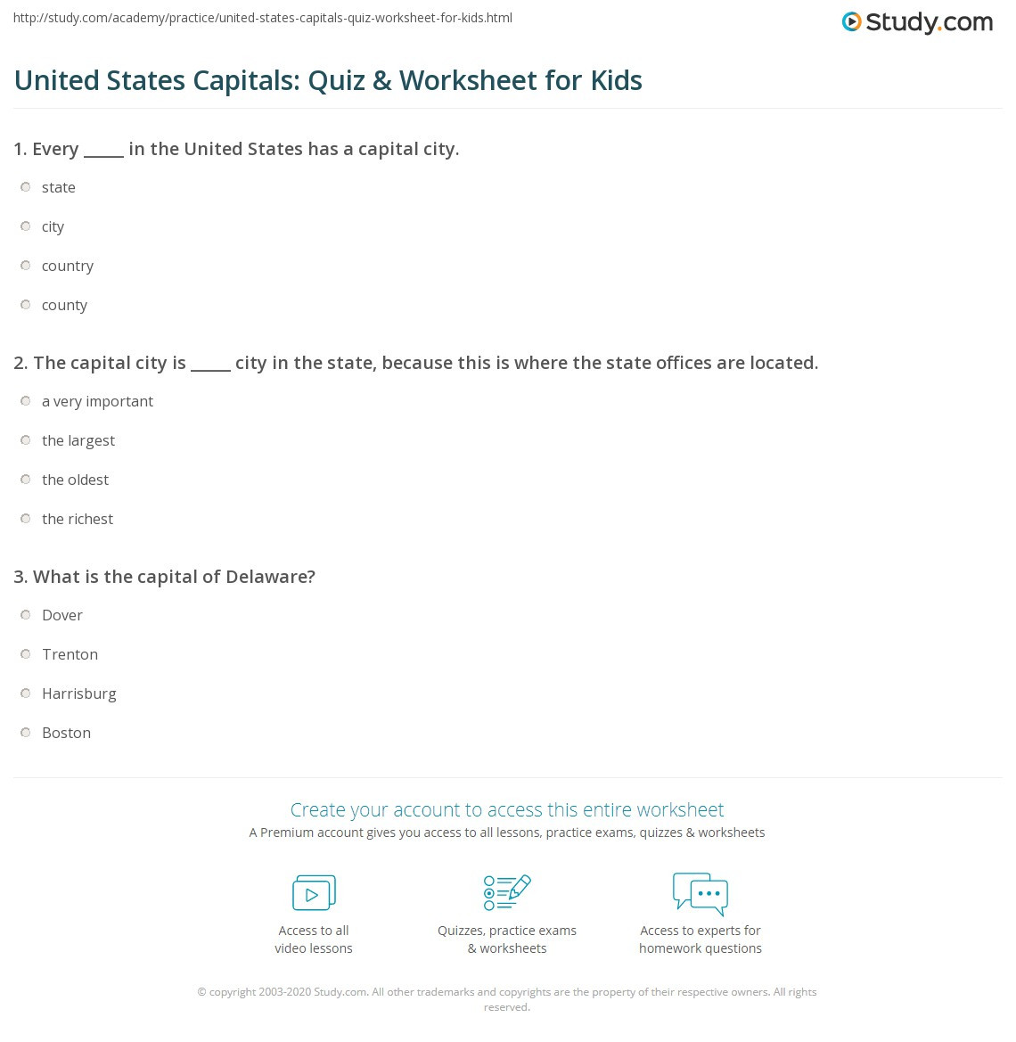 United States Capitals Quiz Printable United States Capitals Quiz & Worksheet for Kids