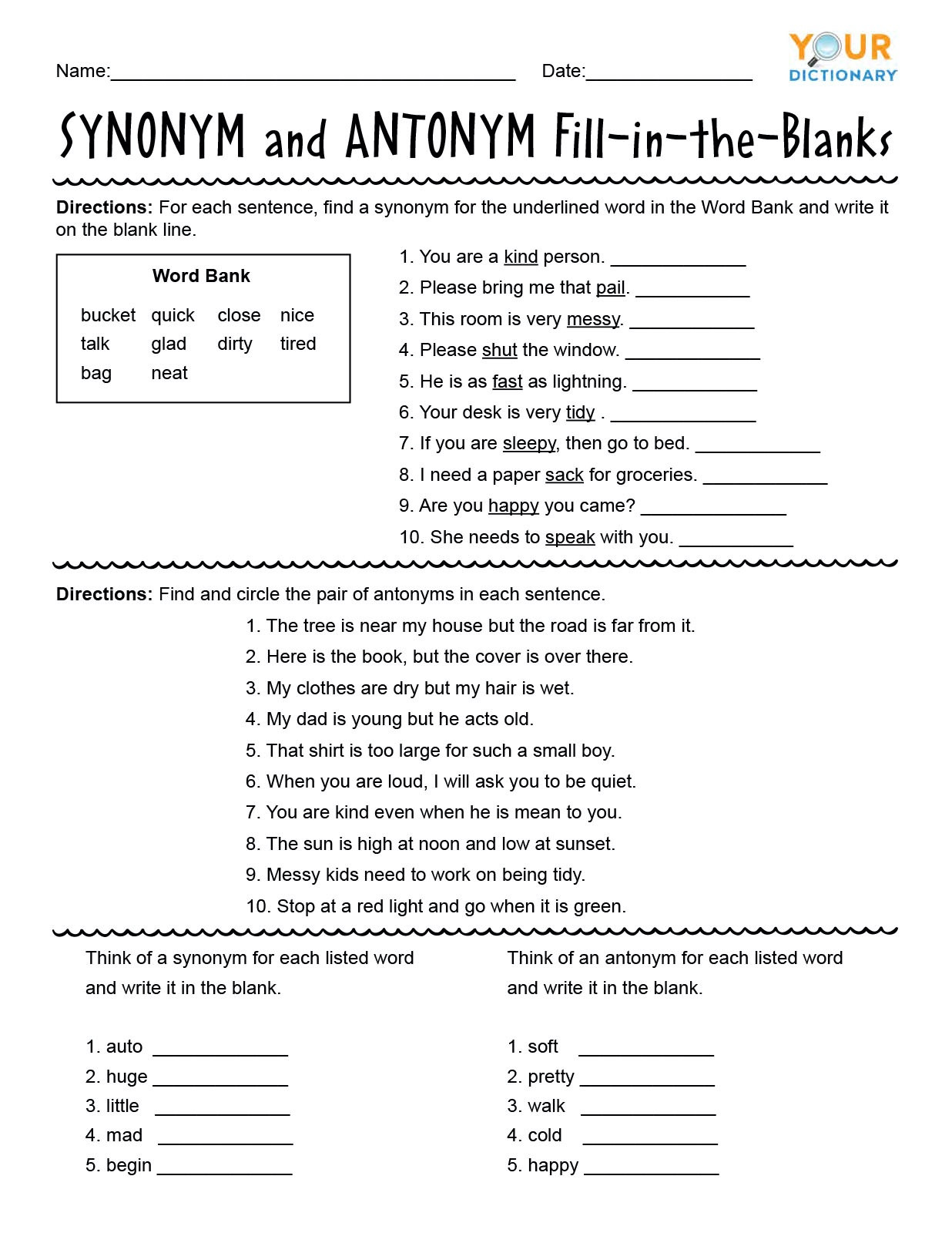 Unscramble Sentences Worksheets 1st Grade First Grade Synonyms and Antonyms Worksheets