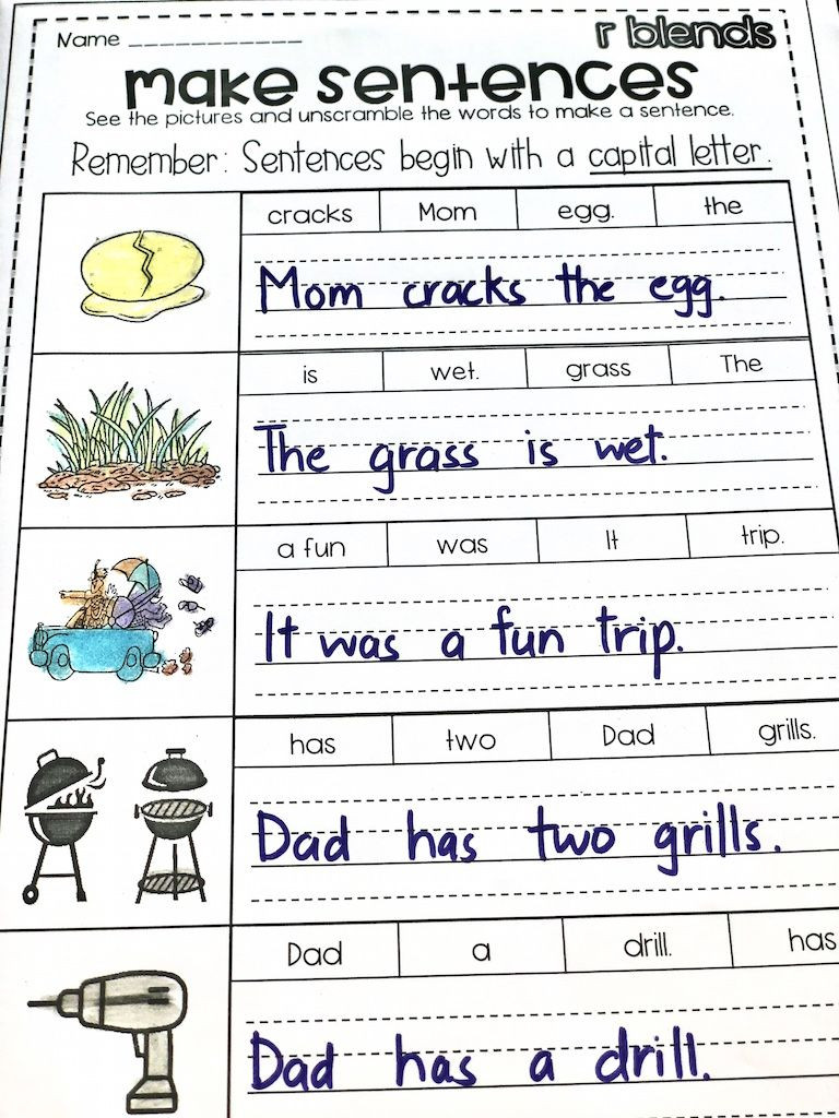 Unscramble Sentences Worksheets 1st Grade R Blends Worksheets Br Cr Dr Fr Gr Pr Tr