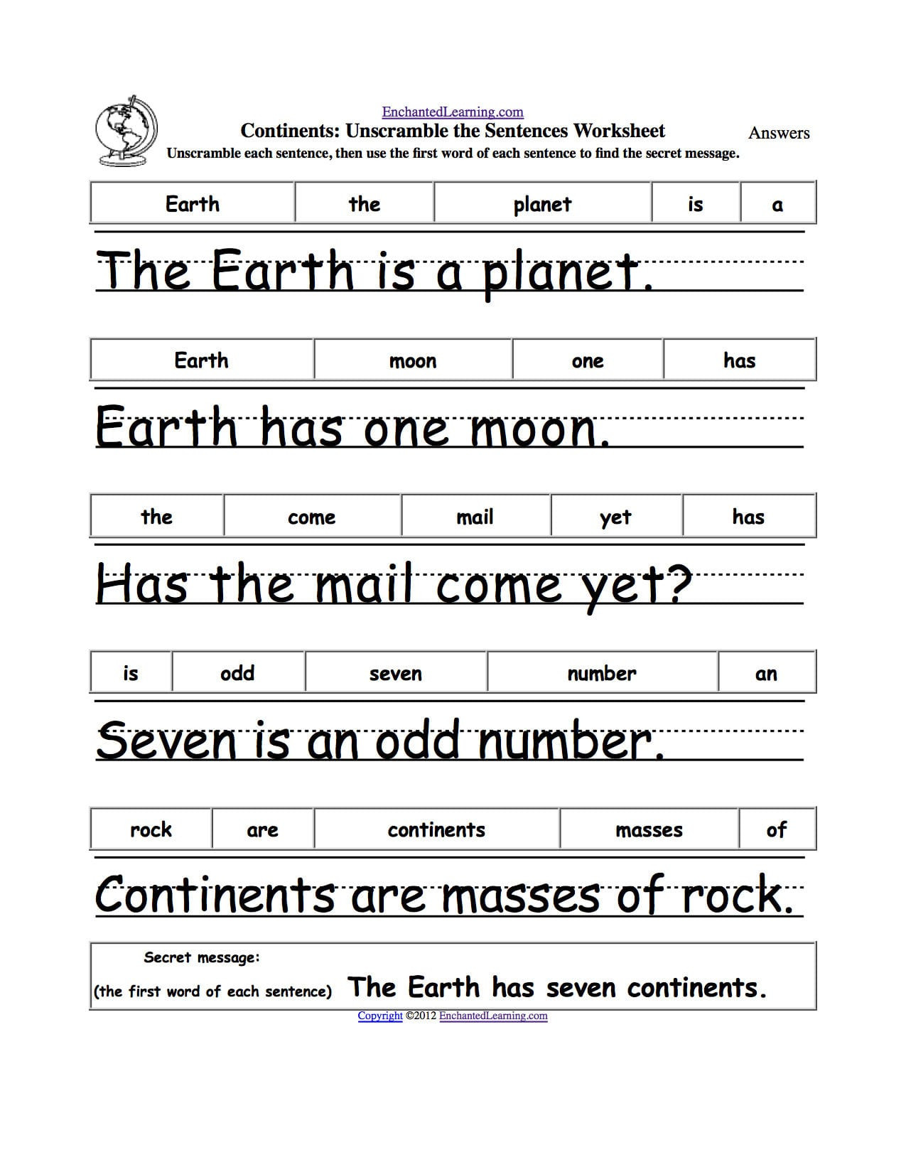 Unscramble Sentences Worksheets 1st Grade Sentence Unscramble Worksheets Printable