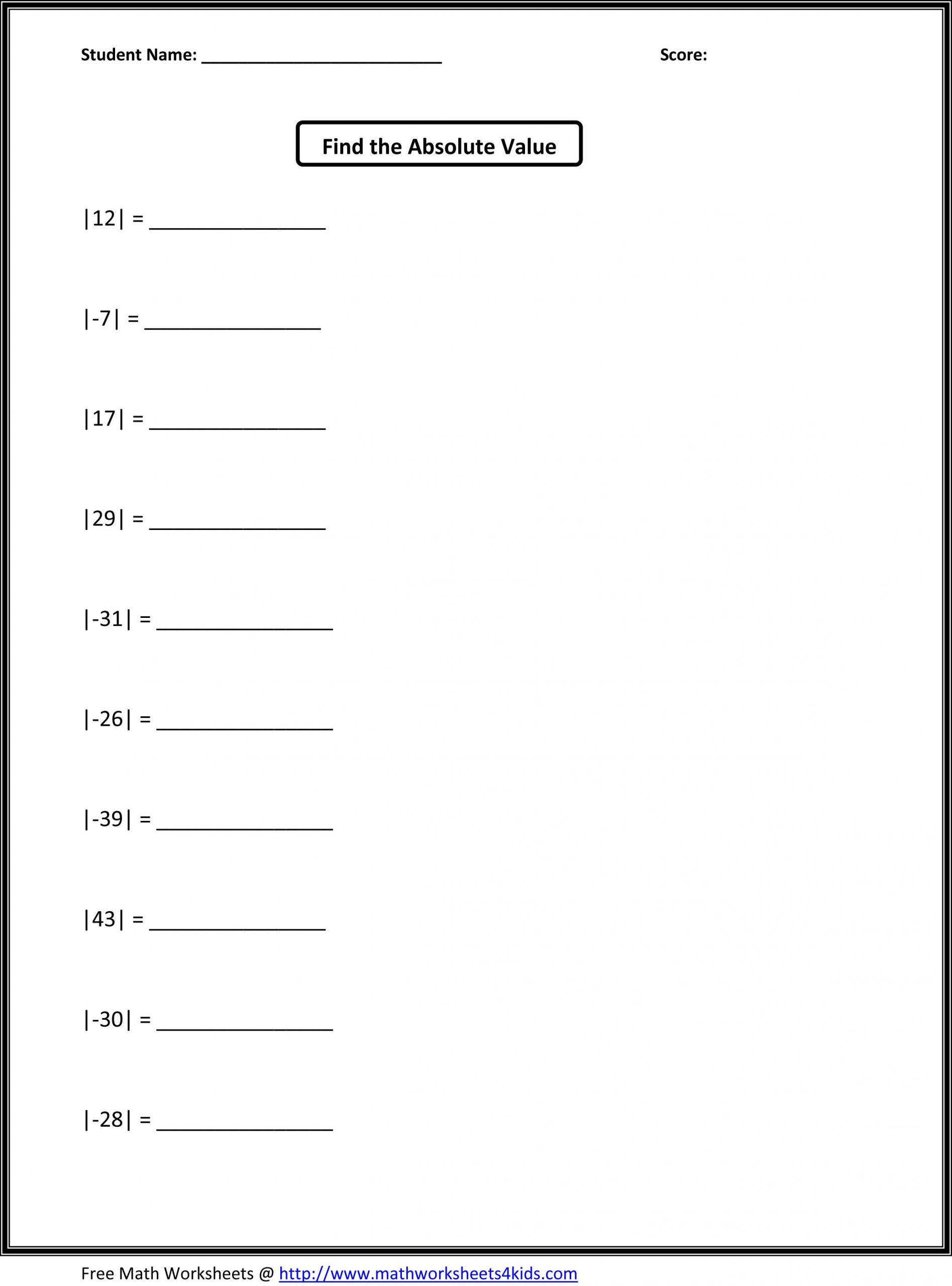 Variables Worksheets 5th Grade Free Math Worksheets for 5th Grade