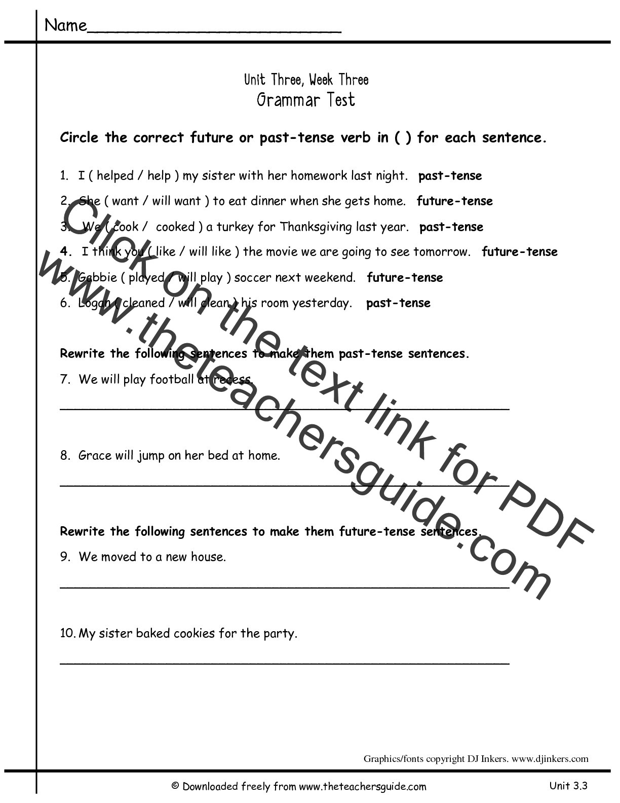 Verb Tense Worksheets 1st Grade Past Tense Worksheet Grade 1