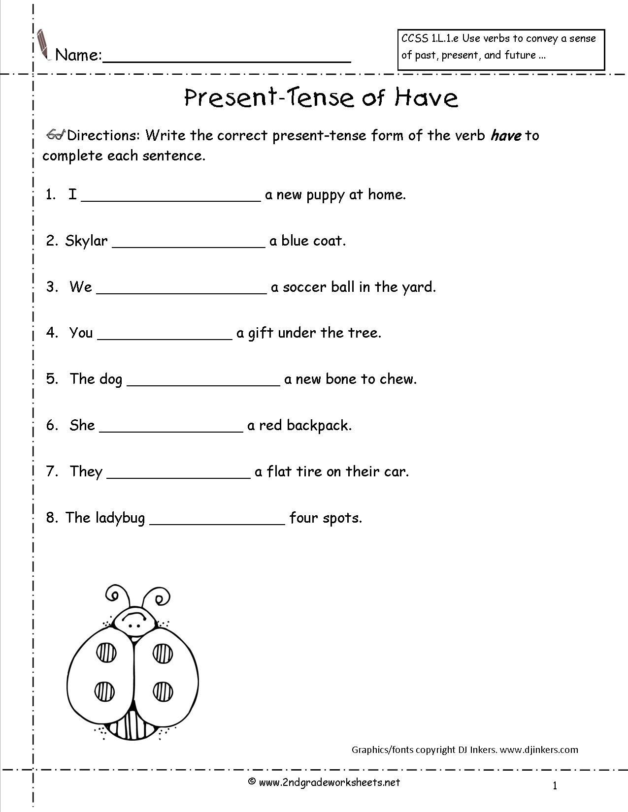 Verb Tense Worksheets 1st Grade Present Progressive Tense Worksheet Grade 4