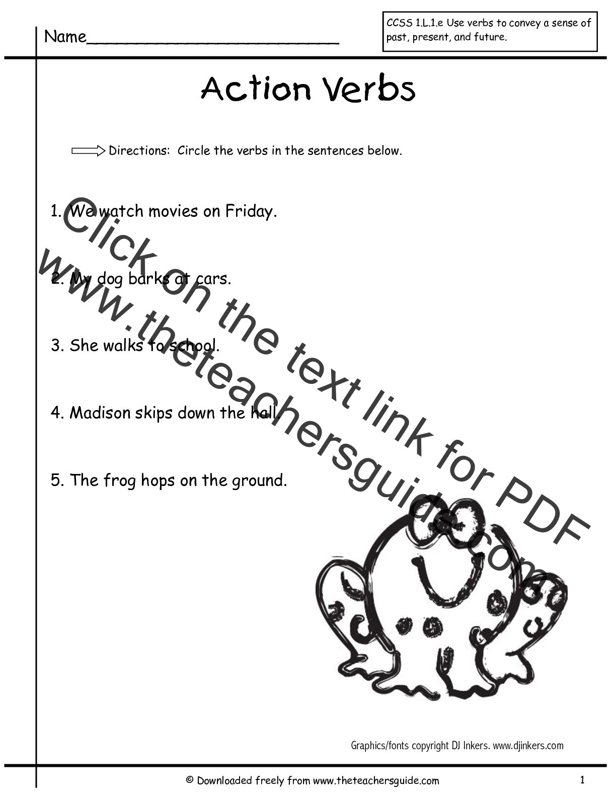 Verb Tense Worksheets 1st Grade Present Tense Worksheets Grade 1