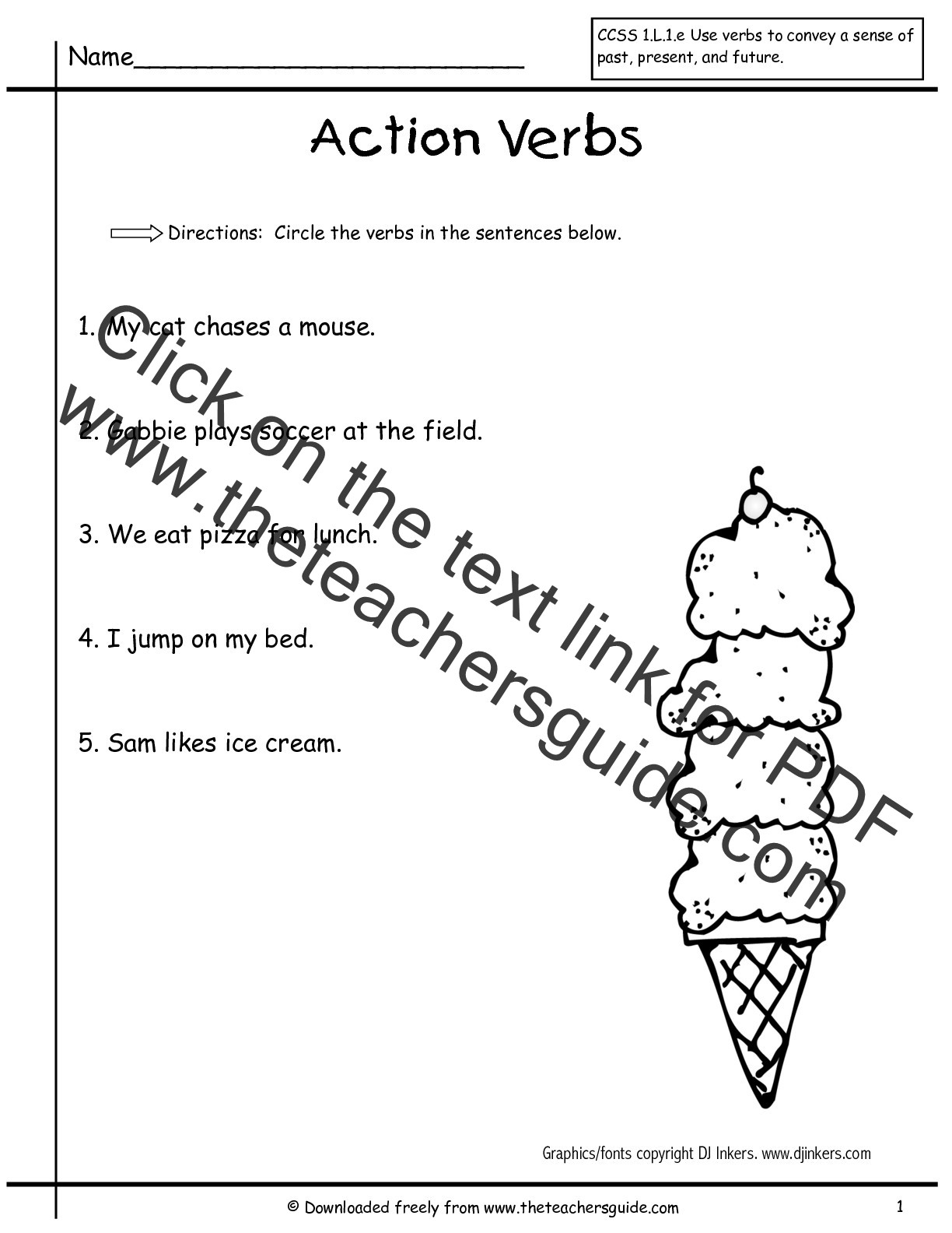 Verb Tense Worksheets 1st Grade Worksheet Verbs