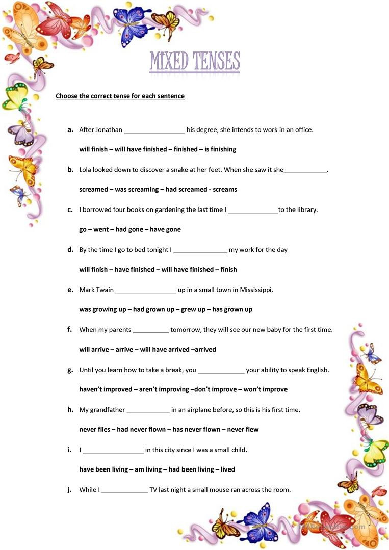Verb Tense Worksheets Middle School Mixed Tenses Multiple Choice English Esl Worksheets for