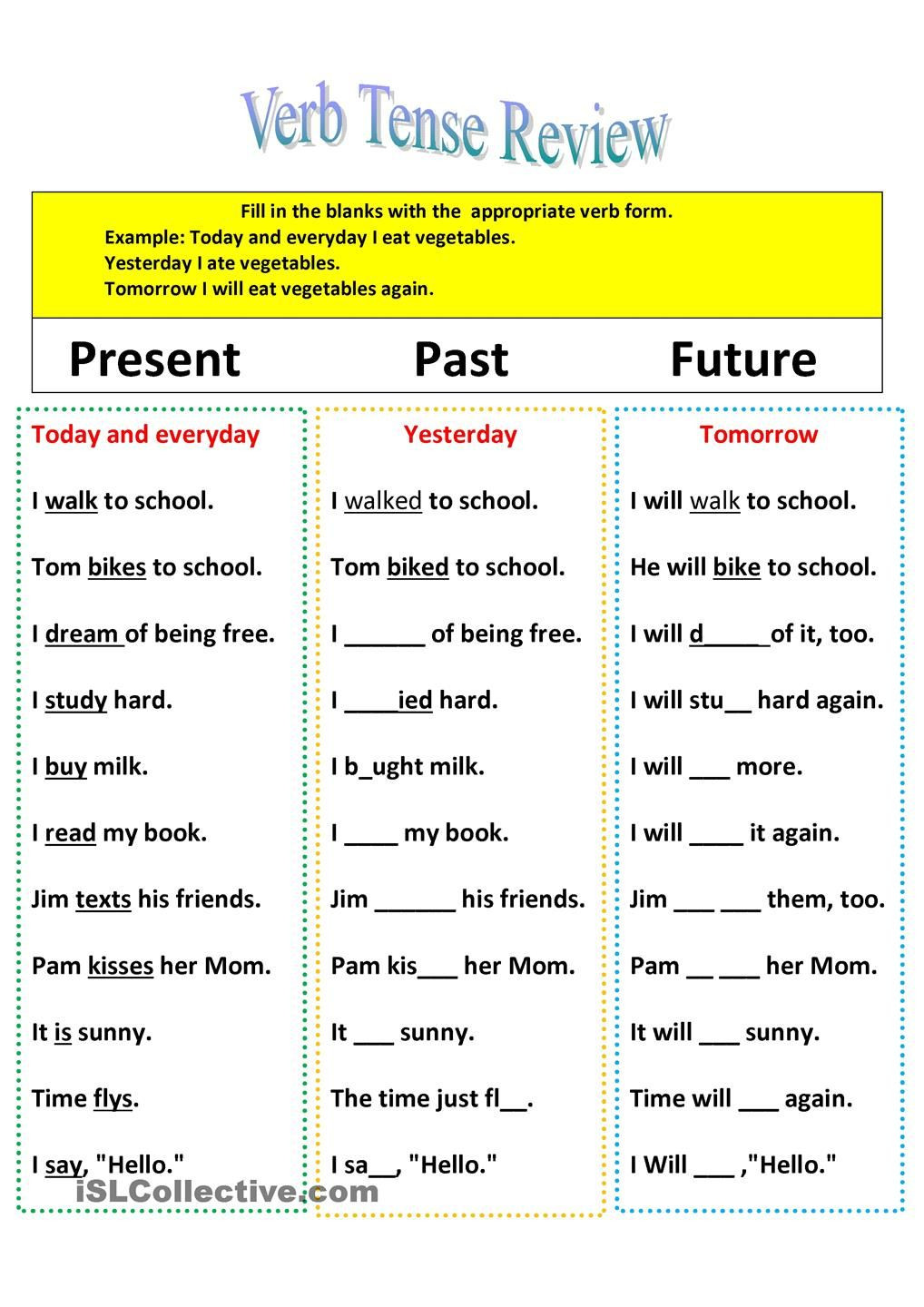 Verb Tense Worksheets Middle School Revision Of Verb Tenses Present Past and Future