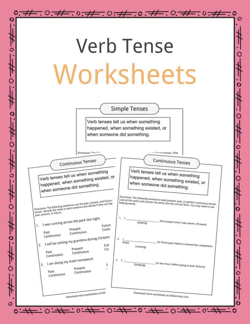 Verb Tense Worksheets Middle School Verb Tense Worksheets Examples & Definition for Kids