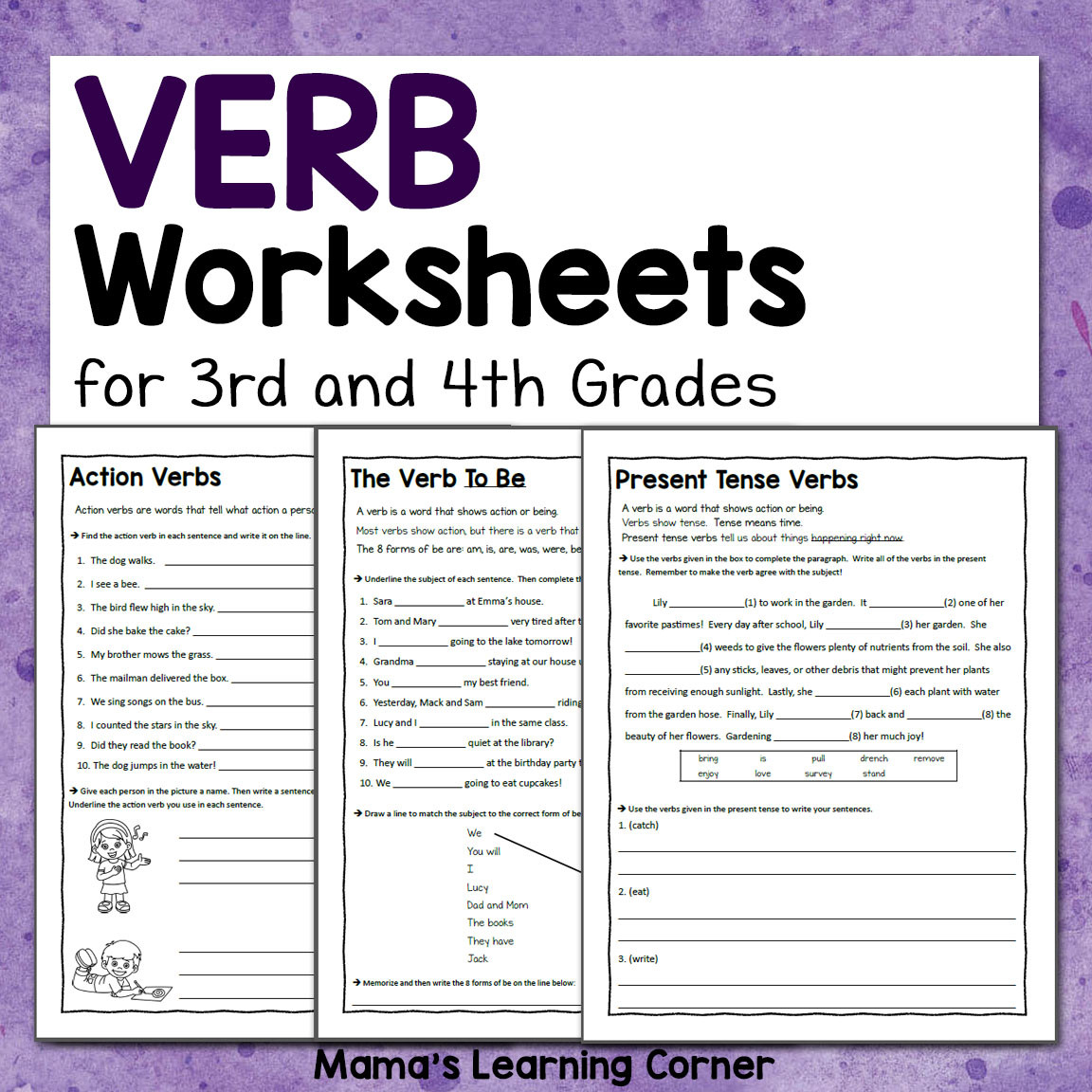 Verbs Worksheet 4th Grade Verb Worksheets for 3rd and 4th Grades