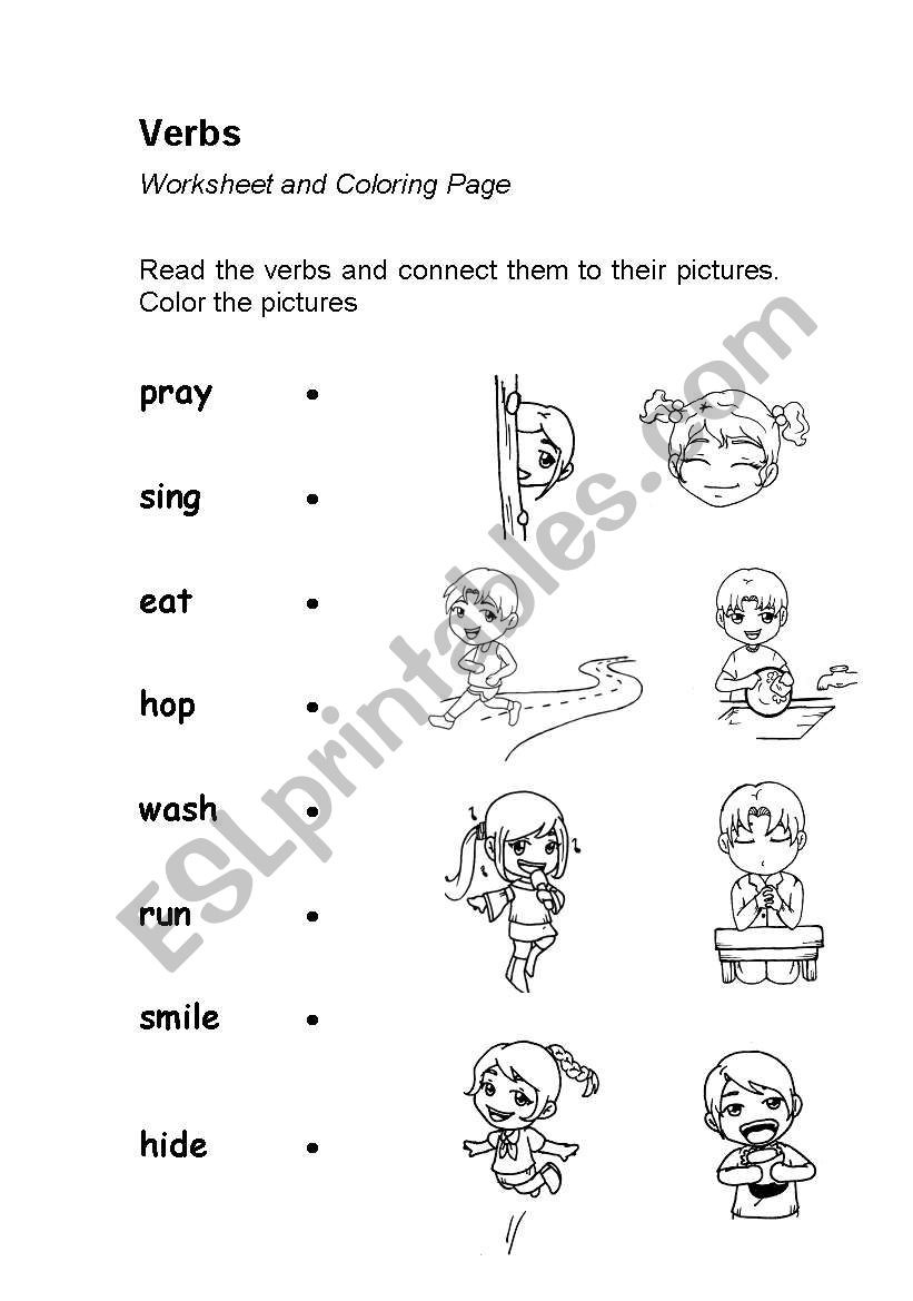 Verbs Worksheet 4th Grade Verbs Action Words Worksheet Coloring Esl Verb Worksheets