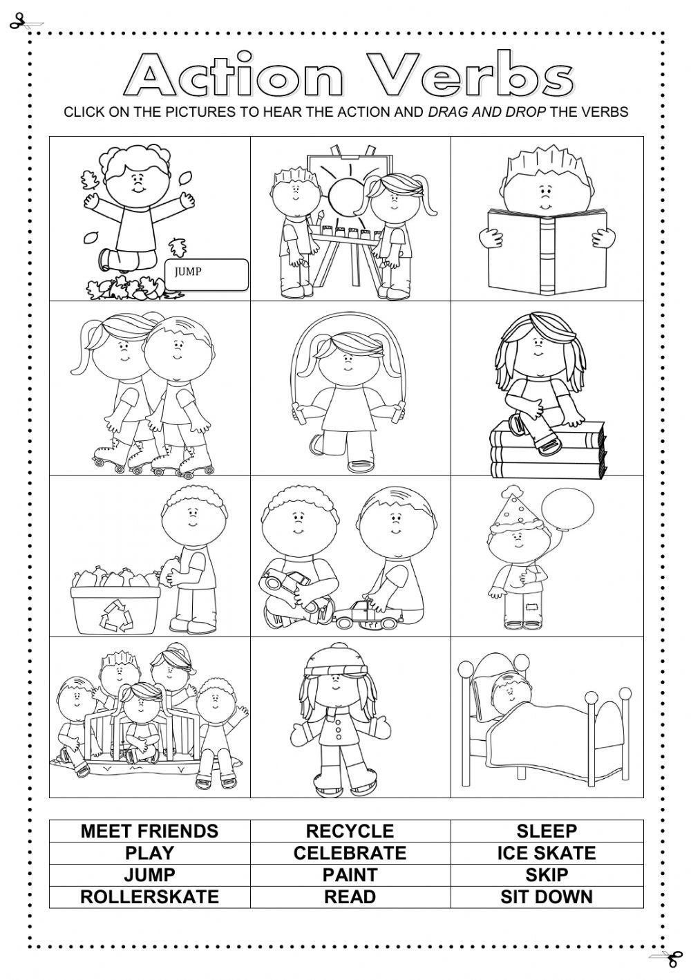 Verbs Worksheets First Grade Action Verbs Interactive and Able Worksheet Check